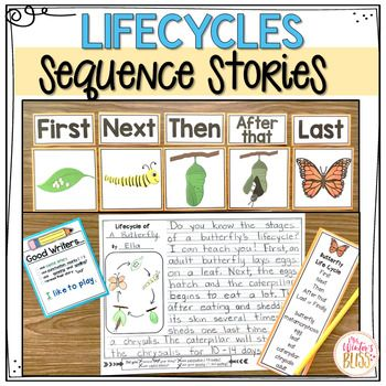 Sequence Writing Prompts - Plant and Animal Life Cycles My students are so successful at writing using these story sequence writing prompts! For this activity, writers use the 5 sequence picture cards to order events, then they can use the transition words and specific story vocabulary words to tell their