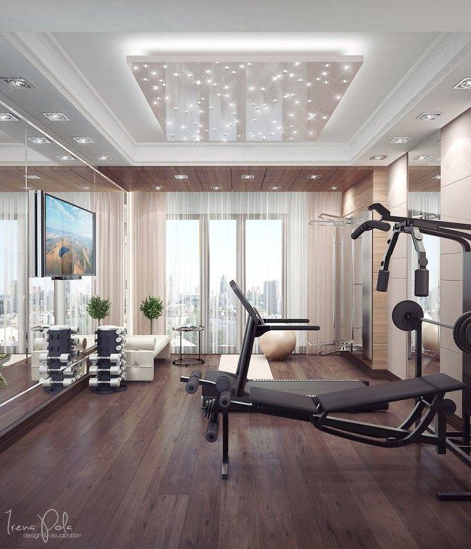 Fitnessstudio Zu Hause, Hauseigene Fitnessgeräte, Fitnessgeräte, Fitnessraum,  Luxus Appartements, Luxus Interieur, Studioideen