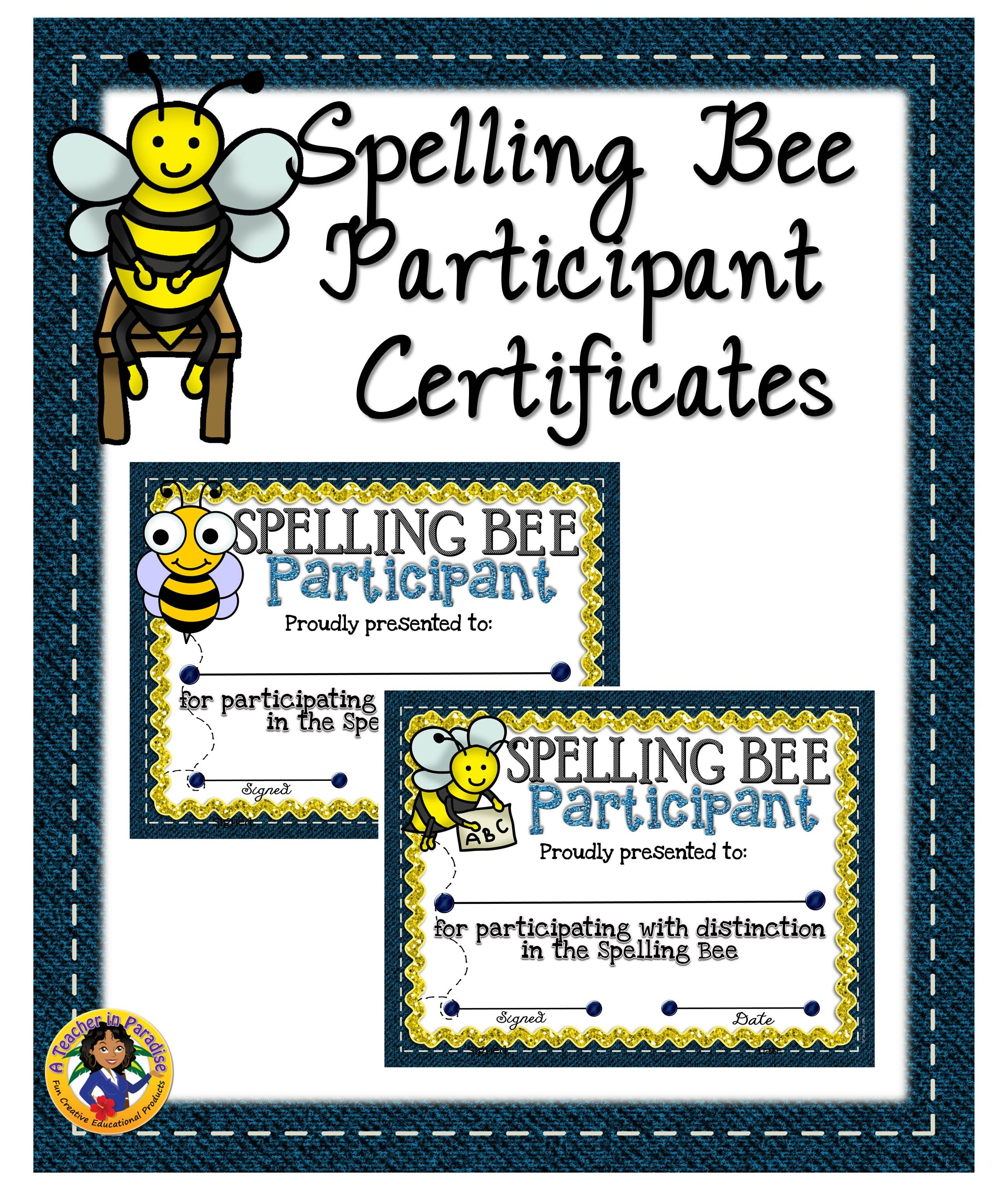 Spelling Bee Participant Certificates Certificate Bees And Students