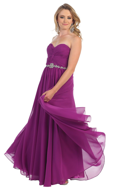 Long Formal Prom Dress Bridemaid Plus Size Pleaded