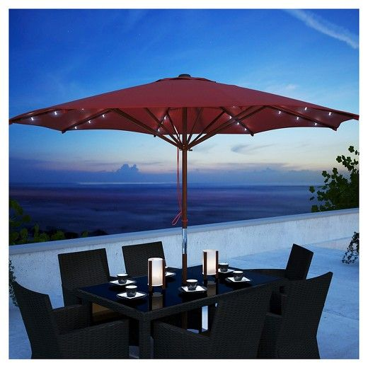 Rectangular Patio Umbrella With Solar Lights Alluring Solar Patio Umbrella  Furniture Ideas  Pinterest  Patio Umbrellas Design Decoration