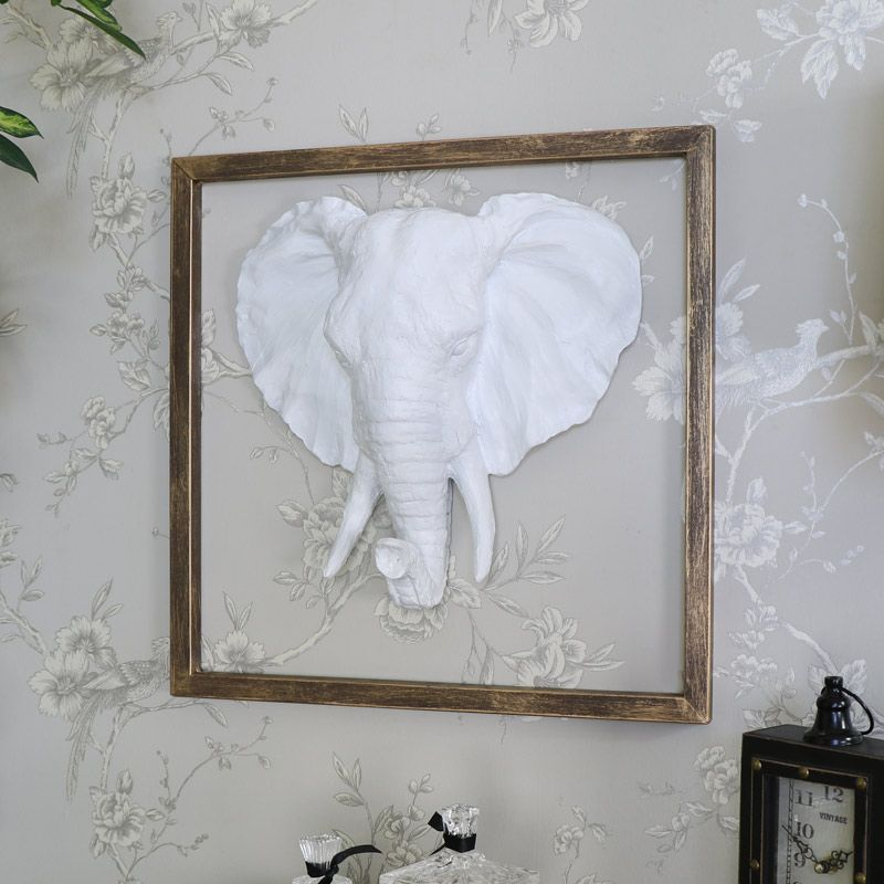 White Wall Mounted Elephant Head With Gold Frame Surround Melody Maison White Wall Mounted Elephant Head With Gold F Frames On Wall Elephant Head Home Decor Accessories