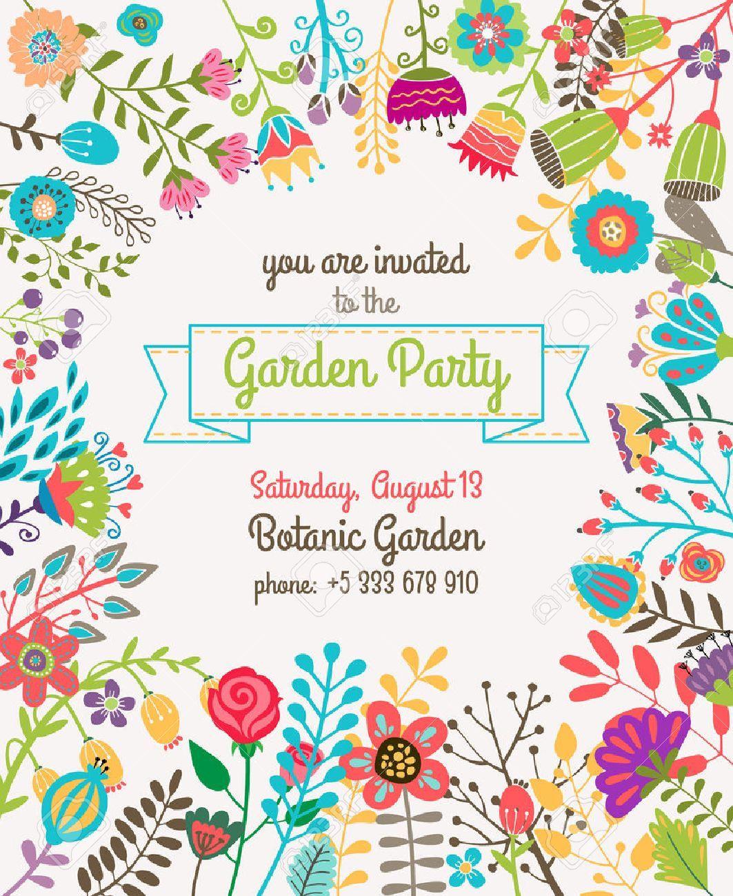 Free Printable Garden Tea Party Invitation Templates Tea Party Invitations Garden Party Invitations Party Invite Template