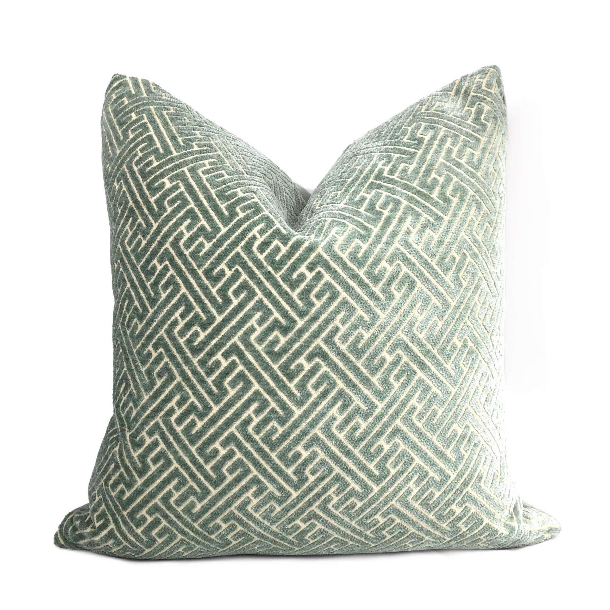 Seafoam Green Greek Key Velvet Pillow Cover Green Throw Pillows