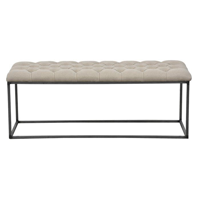 Featuring A Tufted Linen Top And Chrome-finished Iron Base