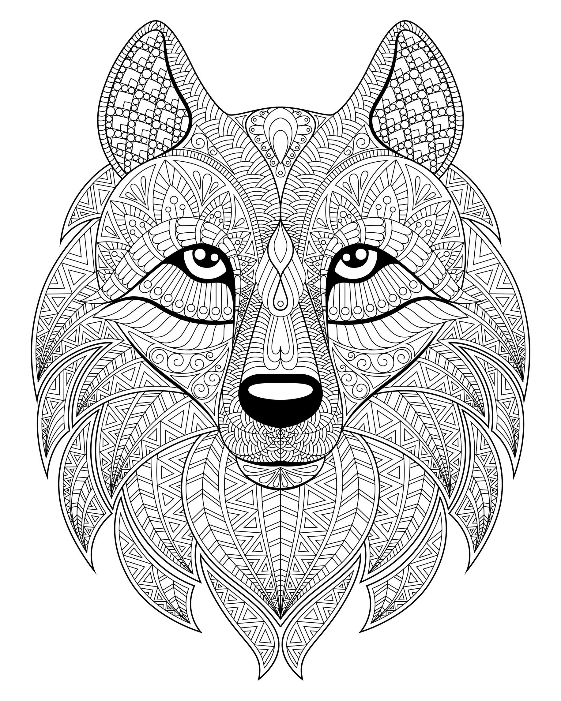 Wolf Head Complex Patterns Wolves Coloring Pages For Adults