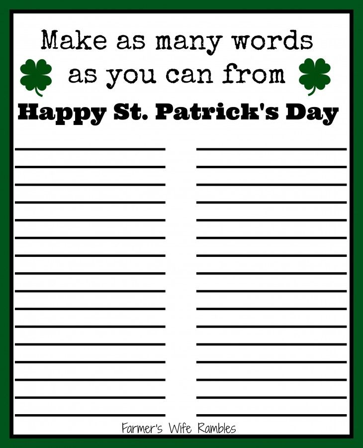 photo about St Patrick Day Puzzles Printable Free identify Cost-free St. Patricks Working day Term Puzzle Printable Printables