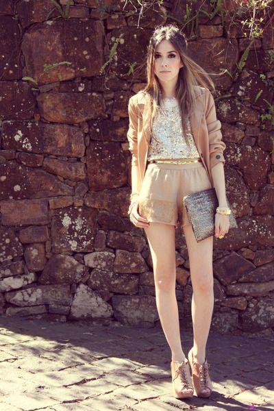 Sparkles top + camel blazer via www.chictopia.com