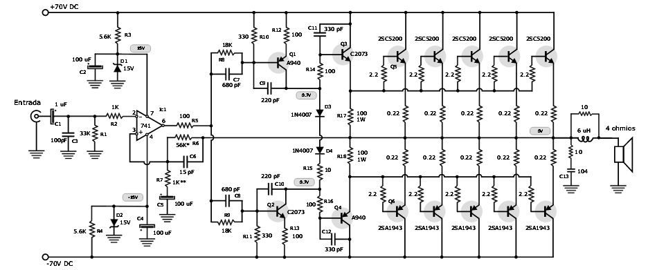 500 watts Hybrid amplifier-complementary config | Electronic