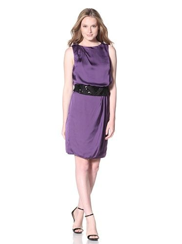 Vince Camuto Women's Pleated Dress with Sequined Belt (Crown Jewel)