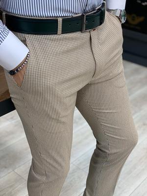 Livonia Cream Plaid Slim Pants – brabion
