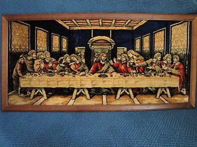 Vintage Framed Tapestry The Last Supper Wall Rug Made In Italy