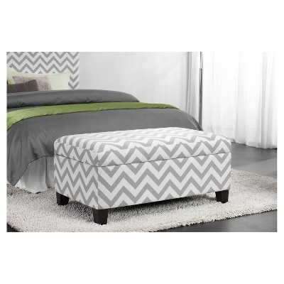 Fine Chevron End Of Bed Storage Ottoman Gray White Dorel Caraccident5 Cool Chair Designs And Ideas Caraccident5Info