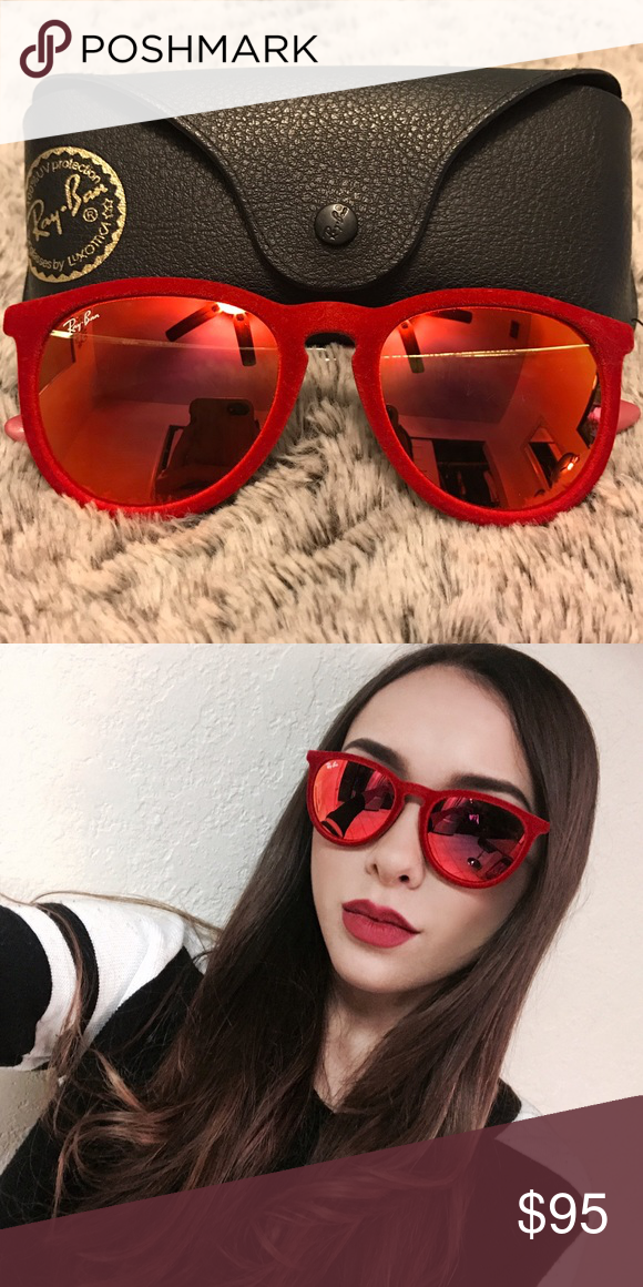 4d6bf33528 Ray-ban Erika Velvet Sunglasses Red Ray-ban Erika Velvet Mirror Sunglasses  Ray-Ban Accessories Sunglasses