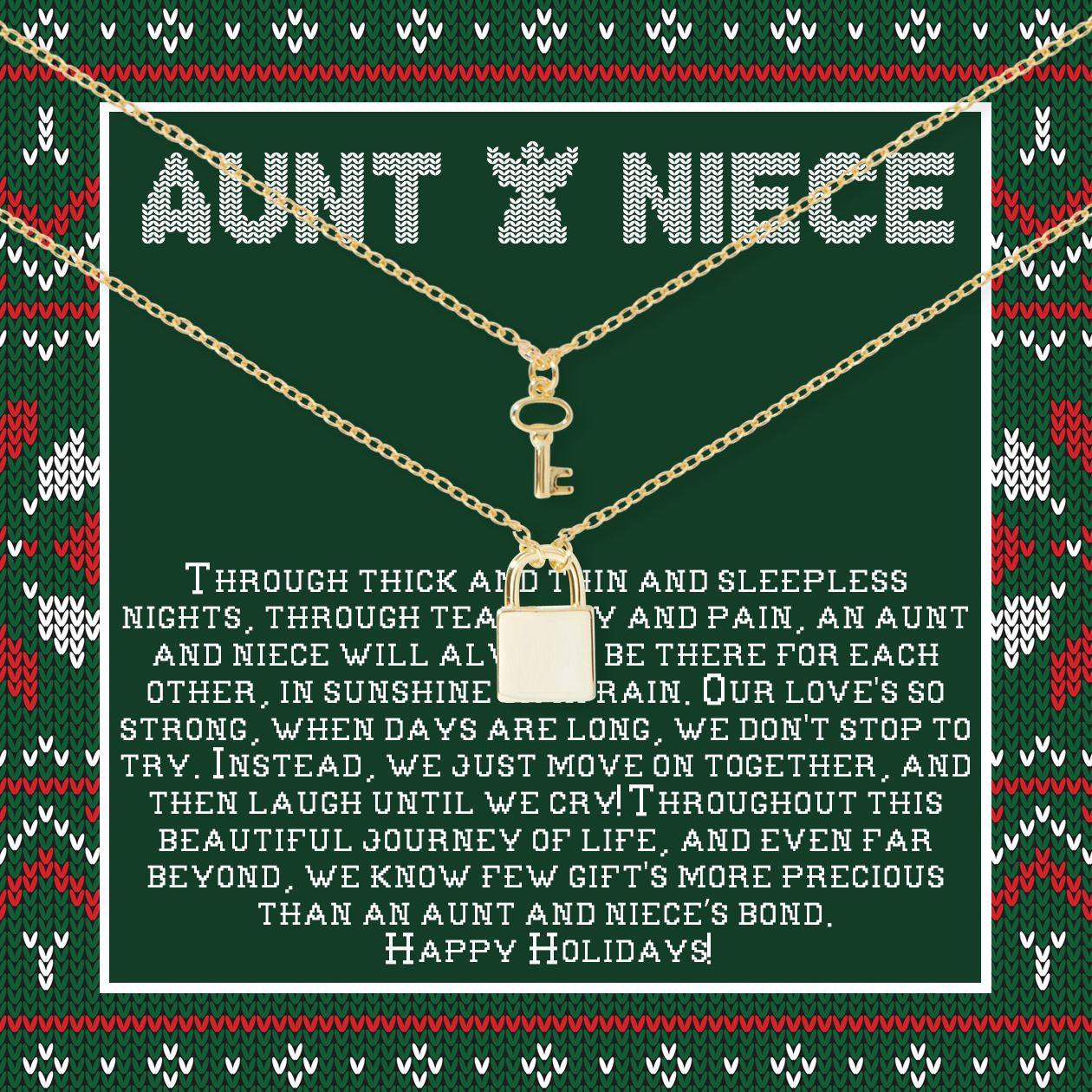 Auntniece christmas matching lock and key pendants