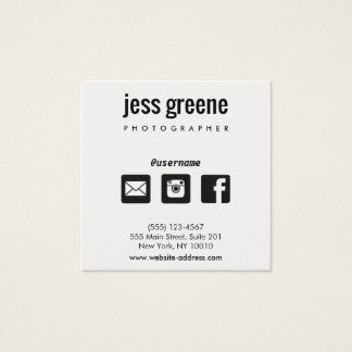Professional Black And White Social Media Icons Square Business - Social media business card template