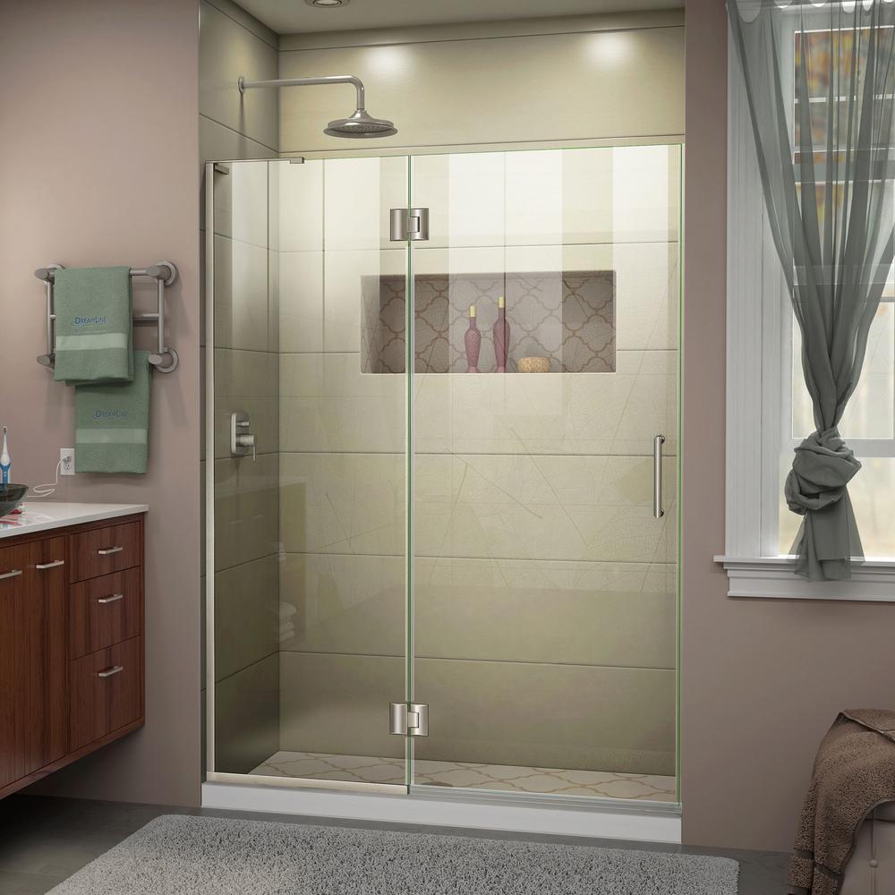 Dreamline Unidoor X 49 In X 72 In Frameless Hinged Shower Door In Brushed Nickel D32572r 04 Shower Doors Frameless Shower Doors Frameless Shower