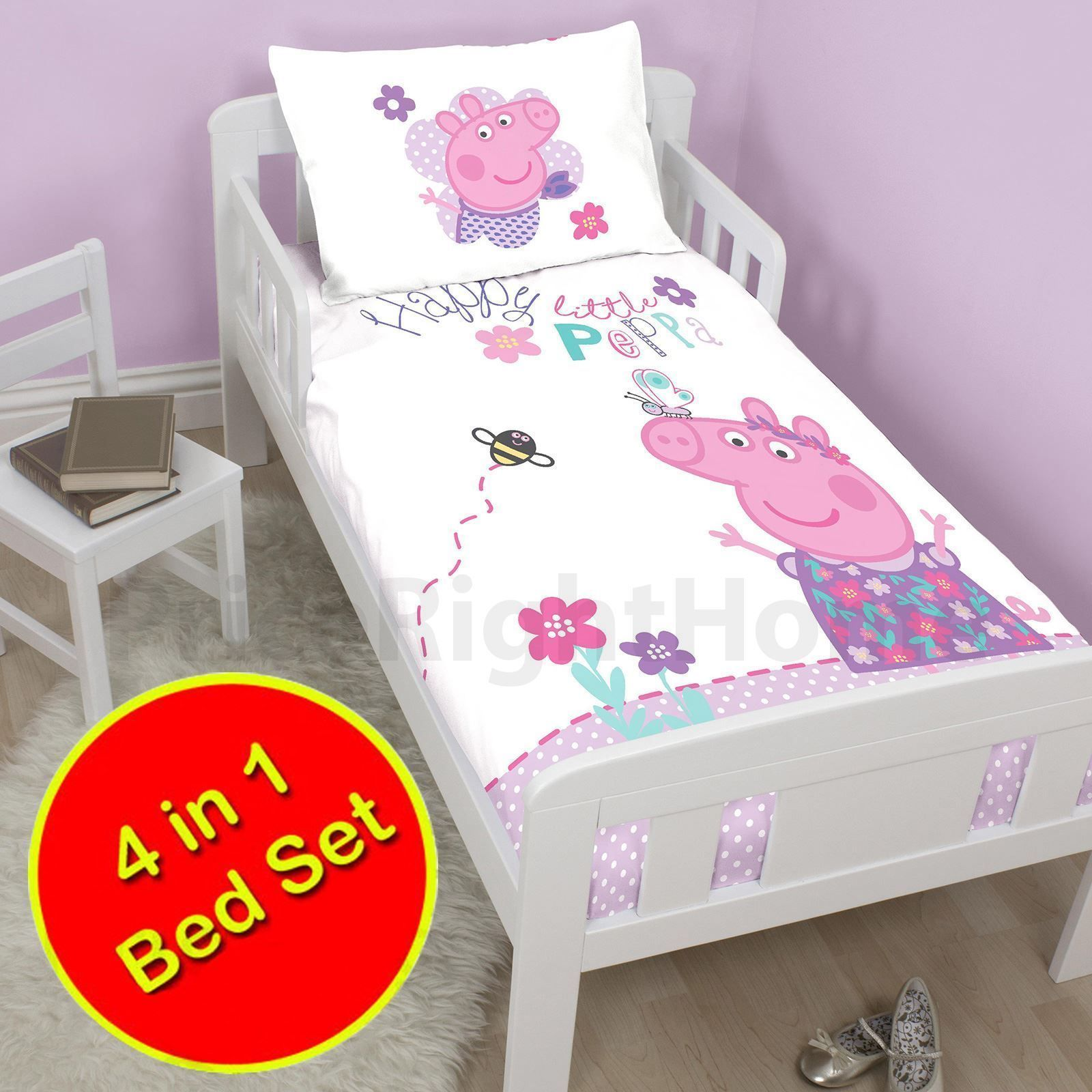 san francisco 9a583 30e0c Peppa Pig Happy 4 In 1 Junior Bedding Bundle Cot Bed Toddler ...