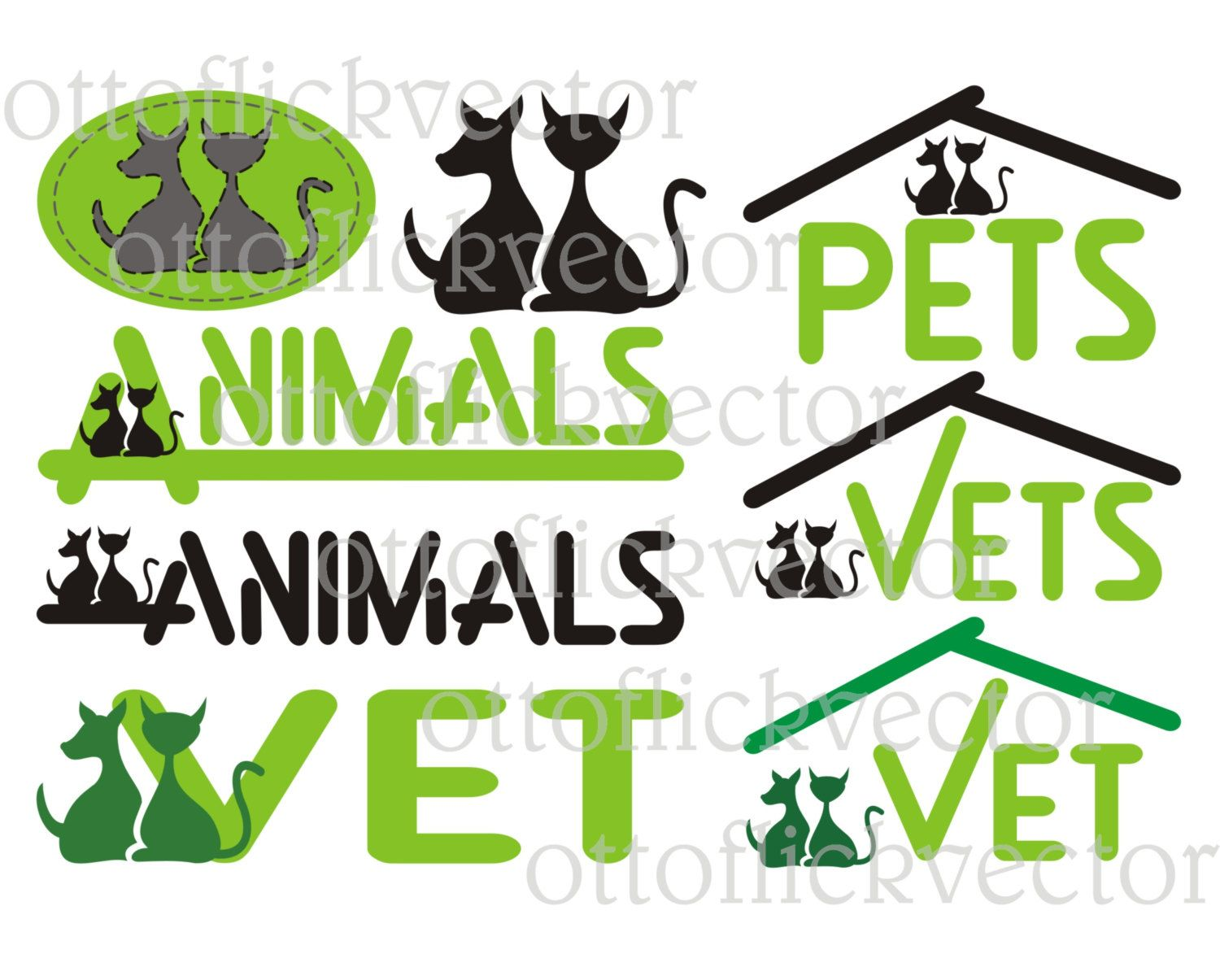 pet vet help vector icons silhouettes clipart eps ai cdr png