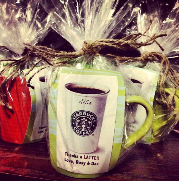 shower hostess gift starbucks gift card mug and pretty wrapping thanks a