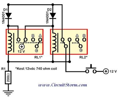 Relay Toggle Switch Schematic Circuit Diagram Circuit
