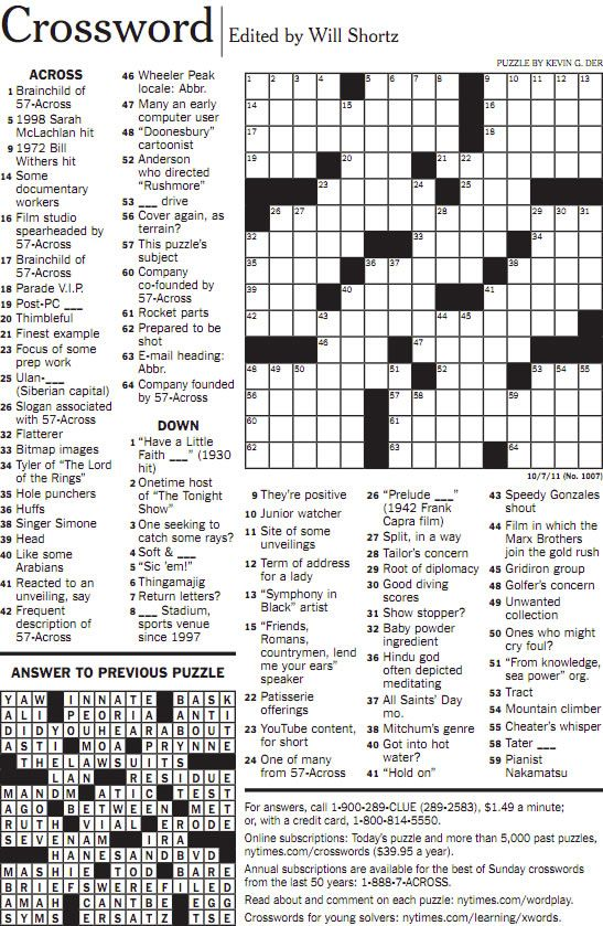 image regarding Washington Post Crossword Printable known as Worlds least difficult crossword puzzle. My Fresh new York Town-Spots I
