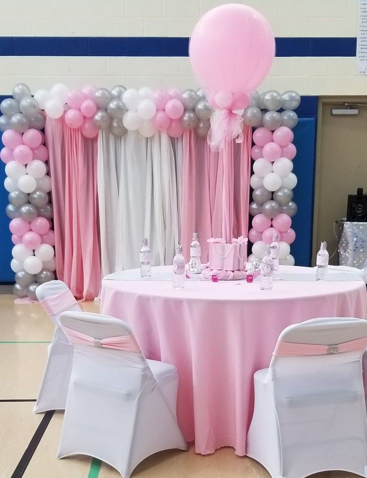 Pink Silver And White Baby Shower Decorations Extrapopbyyolanda