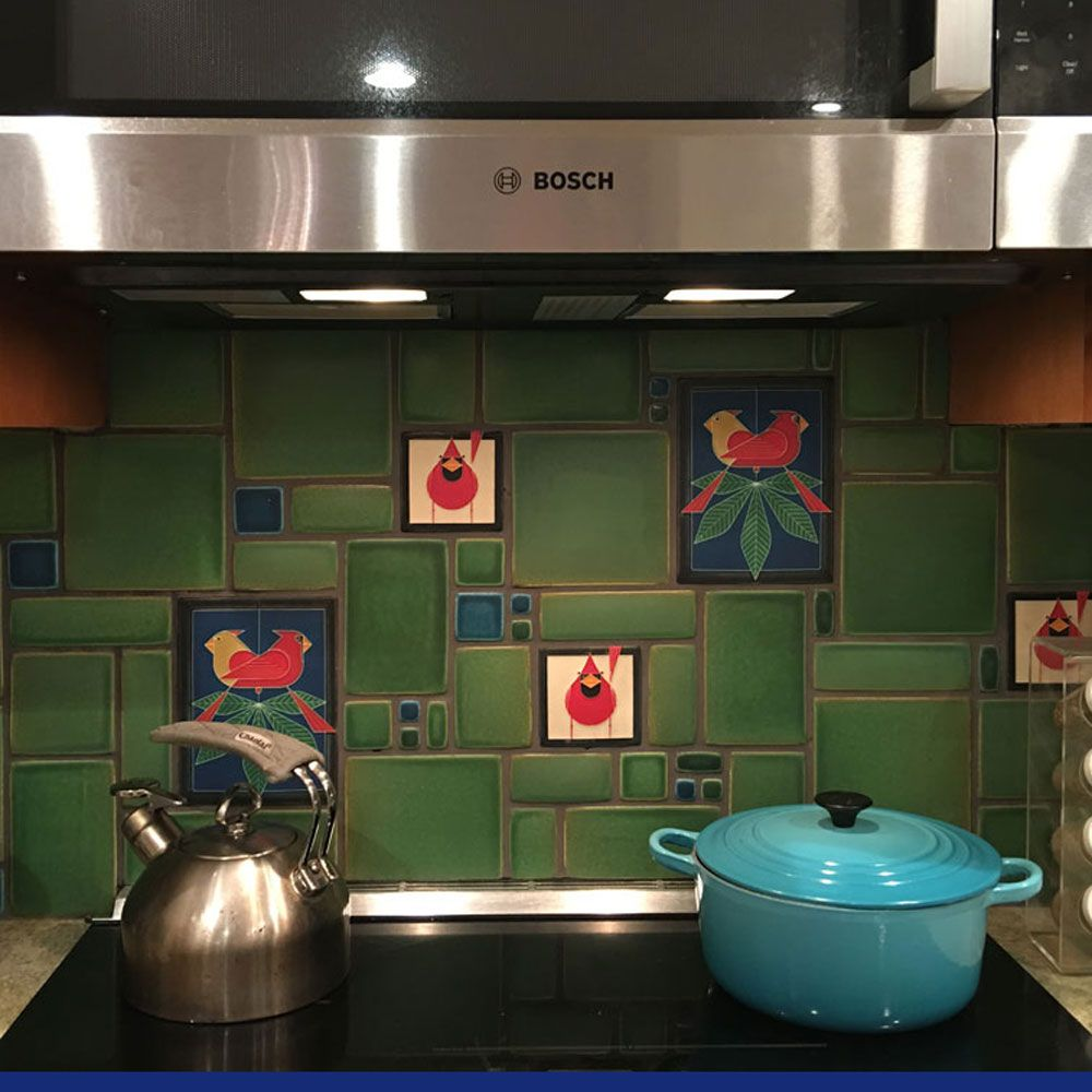 Spotlight on kitchen backsplash collage and define collage collage kitchen backsplash with charley harper accent tiles by motawi tileworks in greens and blues doublecrazyfo Image collections