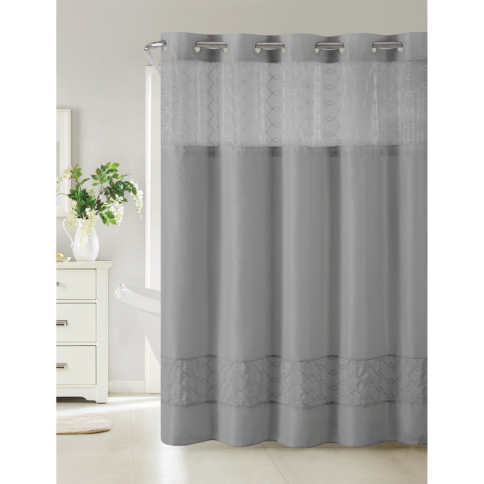 Hookless Downtown Soho Polyester Shower Curtain Slate Gray Shower Curtains Hookless Shower Curtain Shower Curtain