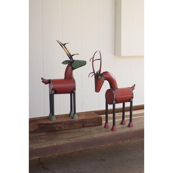 Kalalou Recycled Metal Reindeer Set Of 2.