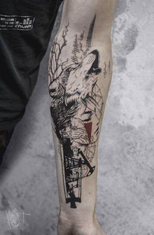 Koit Tattoo Artist Berlin Worldwide Wolf Woman Arm Forearm Tattoo Design In Black And Red Graphic Style Ink 3 Wolf Tattoos Tattoo Artists Tattoos