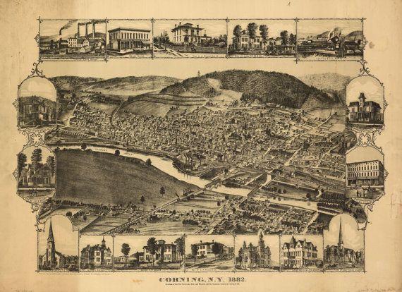 Corning  New York 1882 Map Print by PhotosandBacon on Etsy