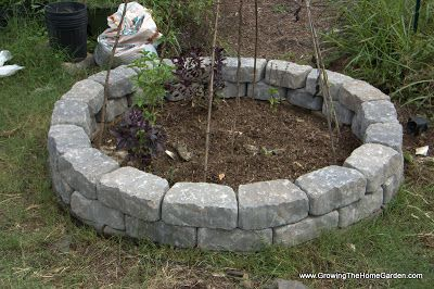 Building A Fall Garden Bed From Stone Retaining Wall Blocks With