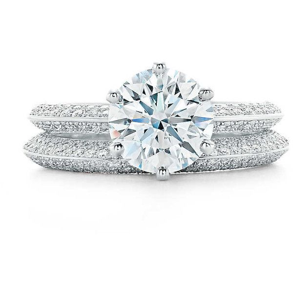 Pave Tiffany Setting Engagement Rings Tiffany Co Liked On Polyvore Featuring Je Tiffany Wedding Rings Tiffany Setting Engagement Ring Wedding Ring Sets
