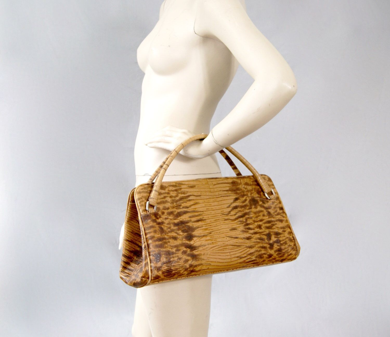 Austin Reed Vintage Lizard Real Leather Large Handbag Bag Etsy Real Leather Bags Austin Reed