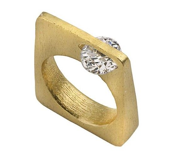 Square Ring 14K Gold Geometric Contemporary