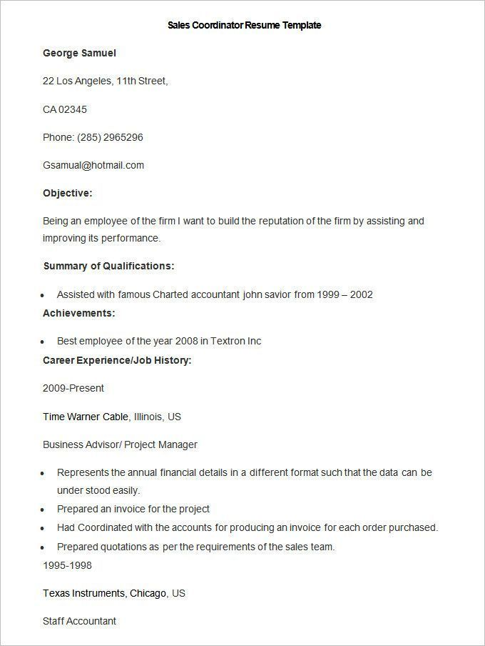 Sample Sales Coordinator Resume Template , Write Your Resume Much - examples of professional summary for resume