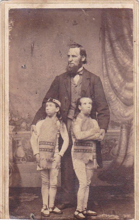 Carte de visite of Waino and Plutanor, wild men of Borneo, circus freaks. C. 1860s