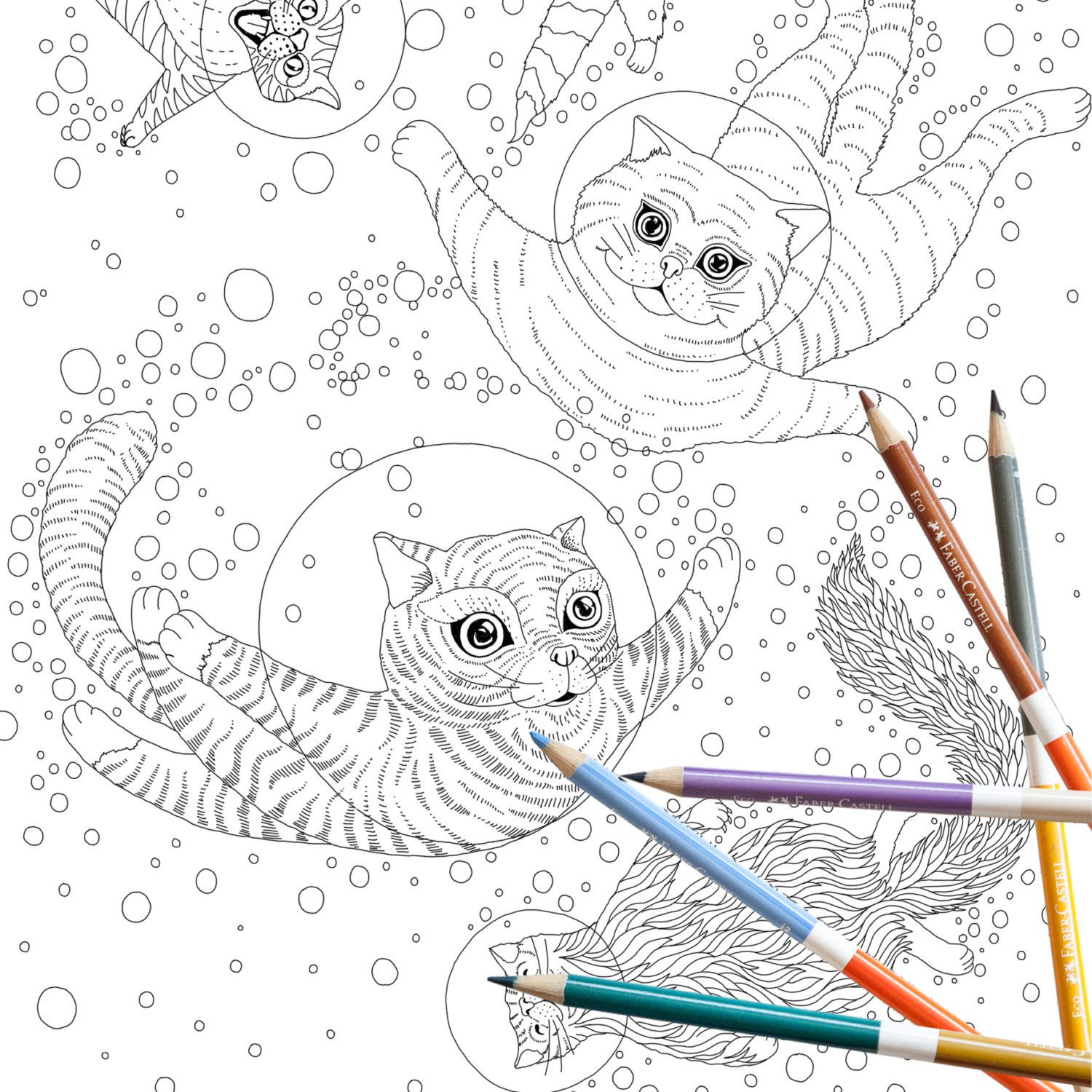 Coloring Page INSTANT DOWNLOAD Space Cats - Adult Coloring page ...