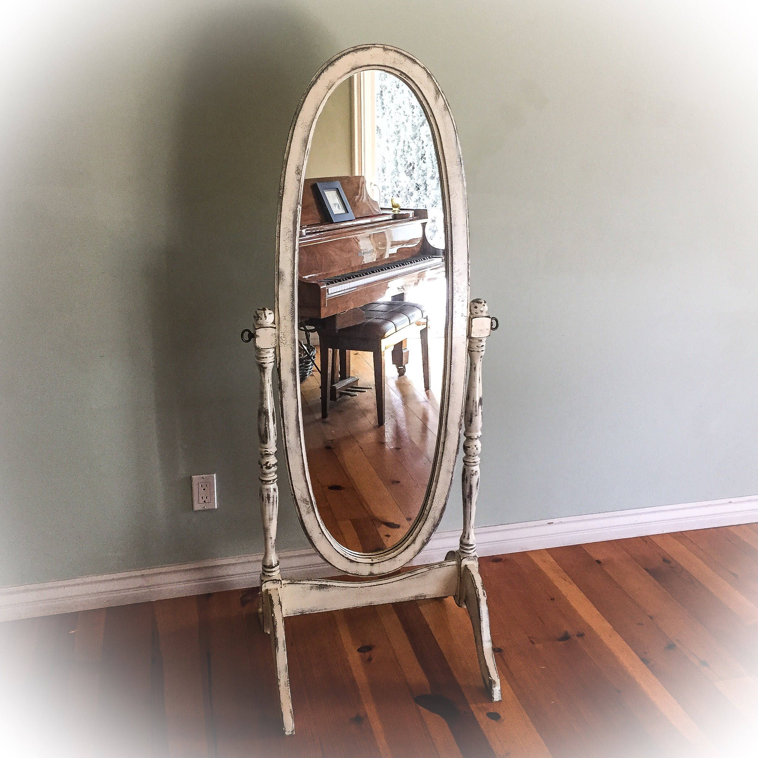 Antique Cheval Mirror Shabby Chic Dressing Full Length Distressed