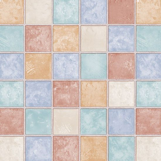 Details about Brown Blue Tile Effect Self Adhesive Vinyl
