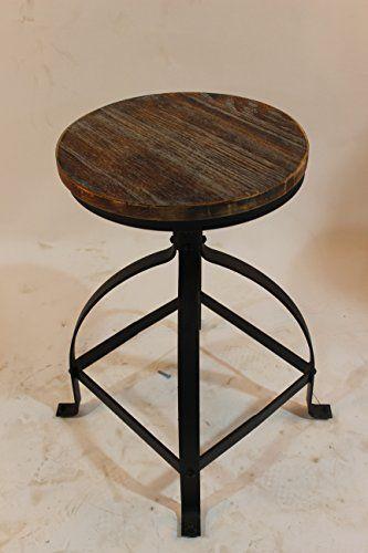 Vintage Bar Stools Metal Frame Wood Top Adjustable Height Swivel