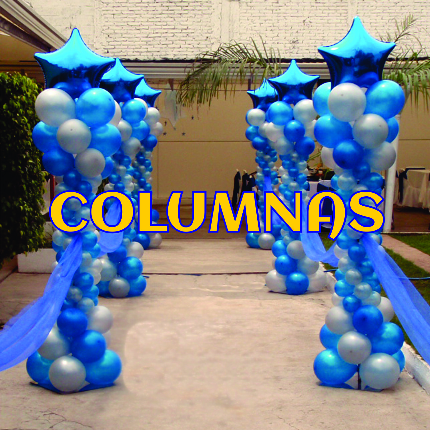 Decoraci n con globos columnas con remate de globo for Decoracion con globos