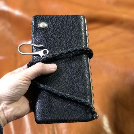 Handmade Genuine Leather Mens Cool Biker Chain Wallet Long Leather Wallet Clutch Wristlet Wallet for Men #leatherwallets