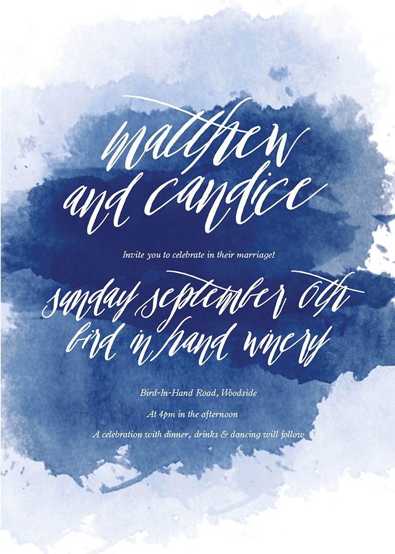 Blue themed wedding decor  Navy Blue Watercolour Wedding Invitations Sail and Swan  Nautical