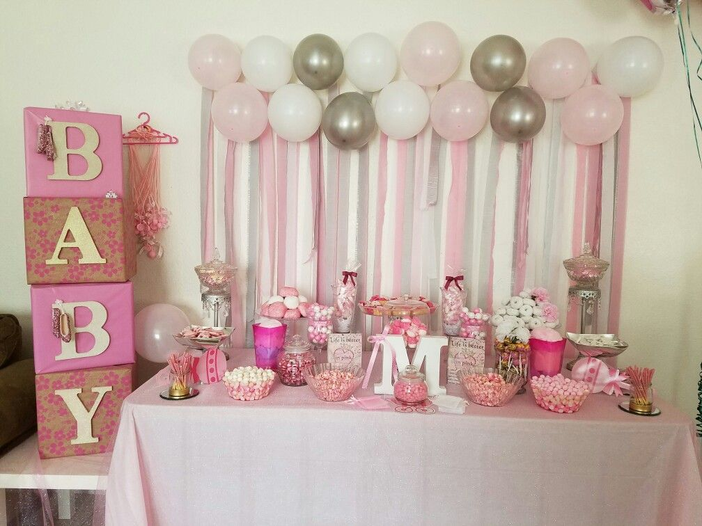 Pink Baby Shower Table Based On Ideas From Pintrest Pink Elephants Baby Shower Pink Baby Shower Baby Shower Candy Table