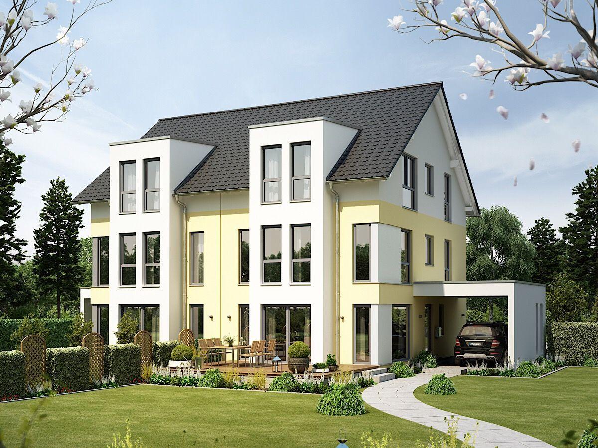 Modernes Doppelhaus mit Satteldach Architektur, Carport