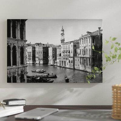 Photo of East Urban Home '1920s-1930s Grand Canal from Rialto Bridge Venice Italy' Photographic Print on Wrapped Canvas Size: 8″ H x 12″ W x 0.75″ D