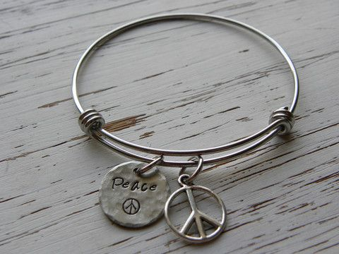 Bangle Bracelet Peace Peace Sign Charm Hand Stamped Stainless Whispering Metalworks Charm Bracelet Charm Bracelet Gift Silver Engraved Bracelet
