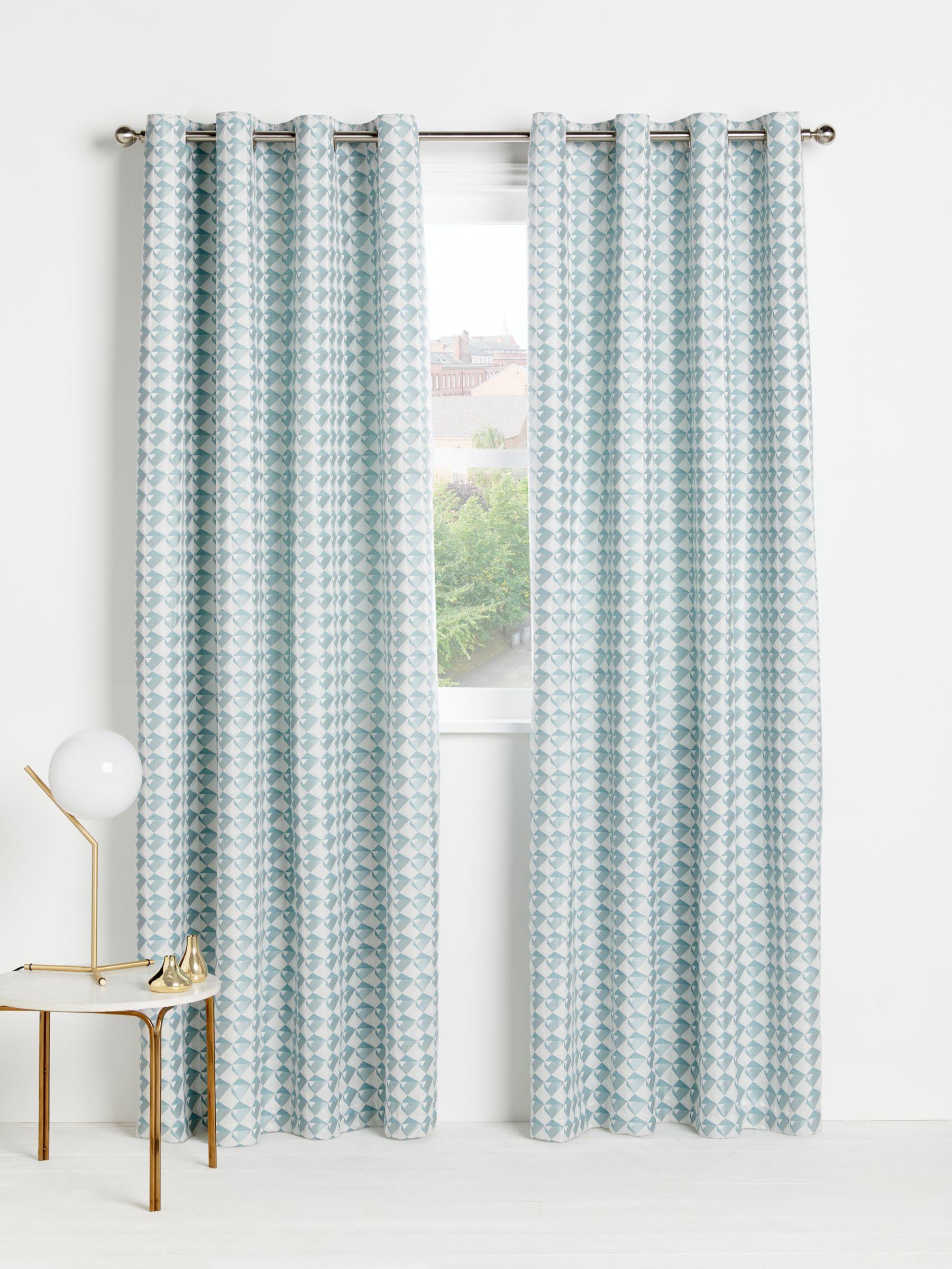 John Lewis Partners Ida Pair Lined Eyelet Curtains Blue Grey Curtains Green Curtains Blue Curtains